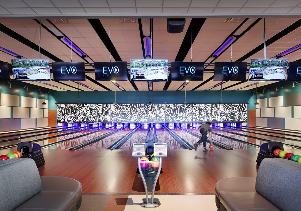 The bowling lanes at EVO Entertainment