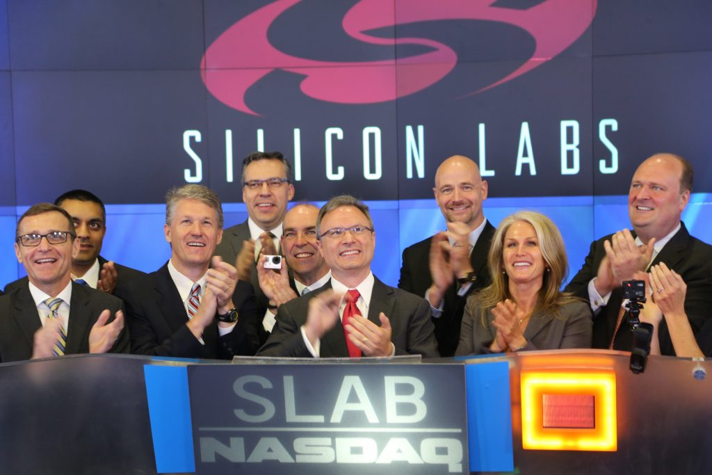 Silicon Labs team at the NASDAQ bell ringing